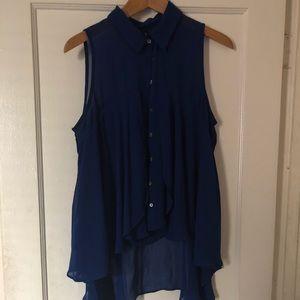 Tops - Blue silk high low blouse